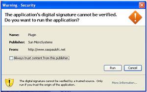 Janela de permissão para rodar o vírus via Java em sites na internet (Foto: Reprodução)