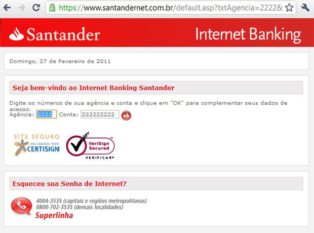 Página verdadeira do banco Santander, após digitar uma conta inválida (Foto: Reprodução)