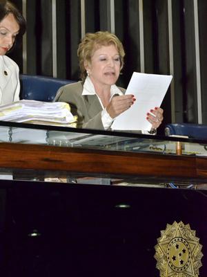Senadora Marta Suplicy (PT-SP) na presidência do Senado (Foto: Waldemir Barreto - Agência Senado)