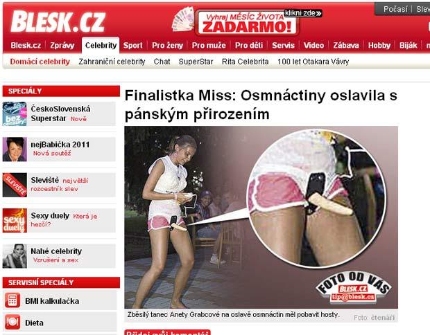 Brincadeira com brinquedo sexual gera polêmica no concurso Miss República Tcheca. (Foto: Reprodução)