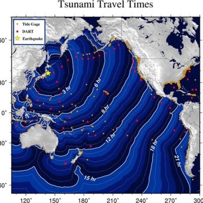 Imagem divulgada pelas autoridades meteorológicas dos EUA mostra a previsão de como o tsunami vai viajar pelo Oceano Pacífico nesta sexta-feira (11). O tremor ocorreu às 14h46 locais, 2h46 de Brasília deste sexta-feira (11).  (Foto: AFP PHOTO/NOAA/HO)