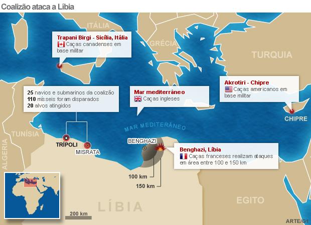 mapa guerra líbia versao 3 (Foto: Arte G1)