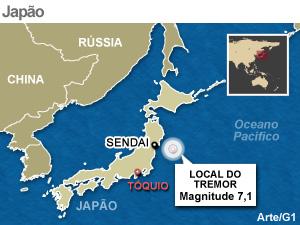 mapa terremoto japao 7/4 atualizado (Foto: Arte G1)