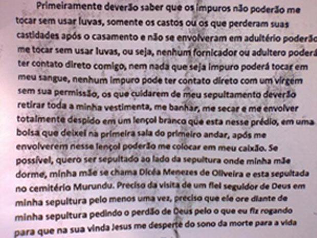 Reprodução carta atirador (Foto: Reprodução)