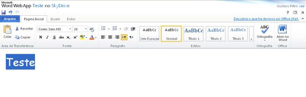Imagem do Word para a web
