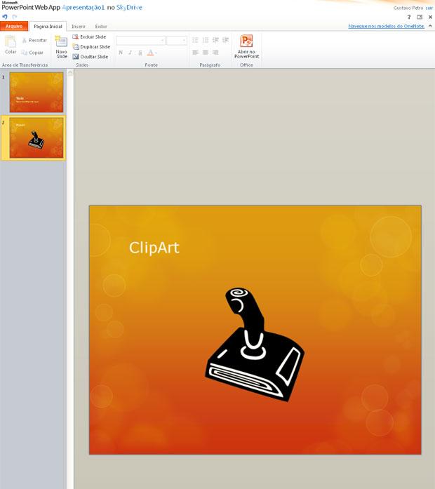 No Power Point da web, é possível buscar imagens armazenadas na nuvem