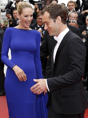Uma Thurman e Jude Law, jurados da mostra em Cannes.  (Foto: AP)
