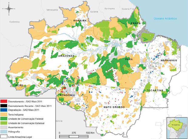 Mapa produzido pelo Imazon mostra em vermelho os pontos de desmatamento detectados pelos técnicos do instituto.  (Foto: Divulgação)
