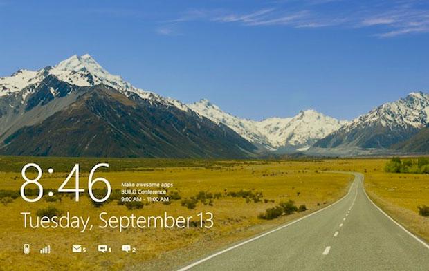 Esta é a área de trabalho do novo Windows 8, que utiliza a chamada interface de usuário 'MetroUI', herdada do Zune e atualmente utilizada nos telefones celulares com Windows Phone 7