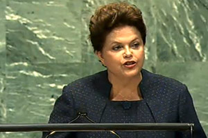 Presidente Dilma Rousseff discursa sobre saúde na ONU (Foto: Reprodução)