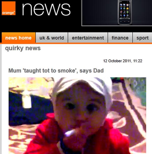 Vídeo no Youtube mostra criança com cigarro (Foto: Reprodução/Orange News)