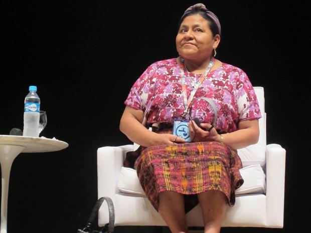 Rigoberta Menchú no Fórum Global de Sustentabilidade do SWU. (Foto: Eduardo Carvalho/G1)