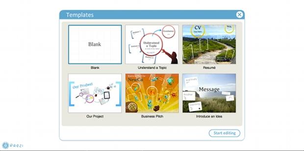 Selecionando um template para a apresentação (Foto: Reprodução)