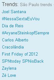Trending Topics em SP às 12h37 (Foto: Reprodução)