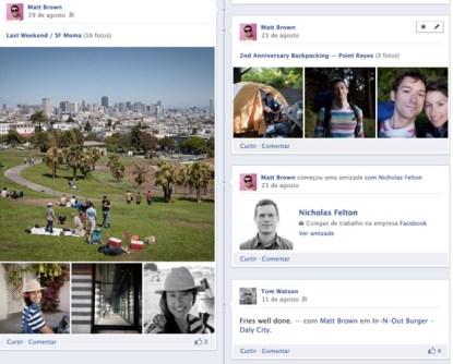 Detalhe de um perfil do Facebook com Timeline mostra atualizações de histórias pessoais (Foto: Divulgação/Facebook)