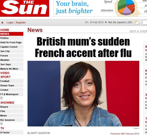 Debie Royston ficou com sotaque francês depois de um surto de gripe. (Foto: Reprodução/The Sun)