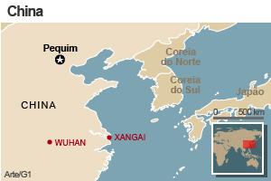 Mapa da China (Foto: Editoria de Arte/G1)