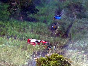 Local onde aeronave caiu na zona rural de Itirapina (Foto: Reprodução/EPTV)