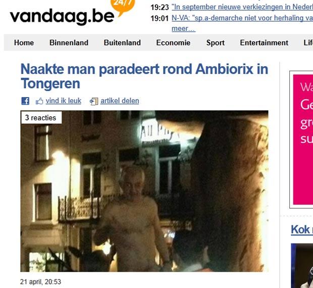 Homem foi preso depois que subiu nu na estátua de Ambiorix. (Foto: Reprodução)