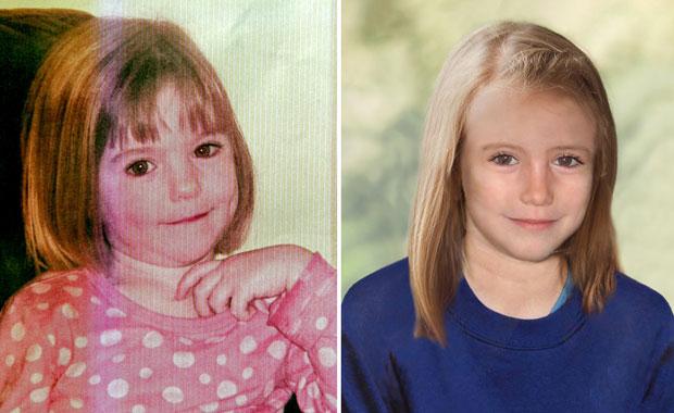 Imagens divulgadas pela Scotland Yard mostram Maddie McCann aos 3 anos (à esquerda) e, em uma projeção feita em computador, como ela estaria atualmente aos 9 (Foto: AFP)