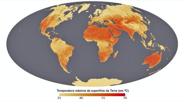 Mapa elaborado pela Nasa mostra variação da temperatura da superfície do solo no planeta. (Foto: Nasa)