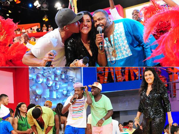 Leandro Sapucahy, Arlindo Cruz, Mumuzinho e Douglas Silva animam o programa ao lado de Regina Casé (Foto: TV Globo / João Miguel Júnior)