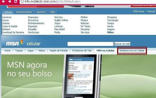 """Selecione """"Windows Live no celular"""" (Foto: Reprodução / Gabriela Viana)"""