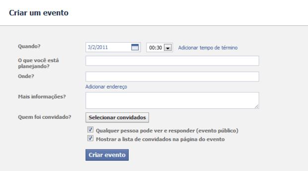Criar um evento (Foto: Reprodução/Camila Porto)