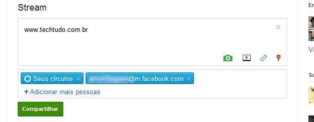 Atualizando o status do Google+ e Facebook (Foto: Reprodução)