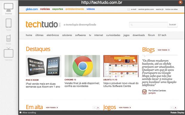 """Screenfly: visualização do Tech Tudo em um netbook de 10"""" (Foto: Reprodução)"""