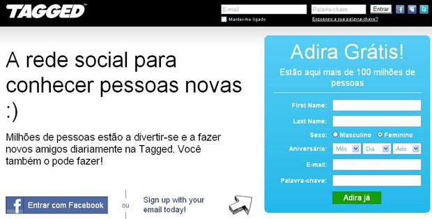 Página para inscrição na rede social Tagged (Foto: Reprodução)