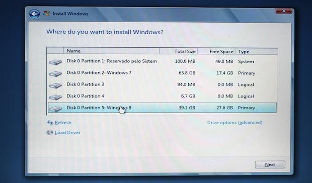 Instalação do Windows 8 (Foto: Reprodução/TechTudo)