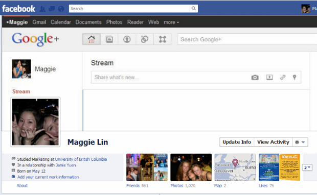 Facebook com cara de Google+ na Timeline. (Foto: Mashable)