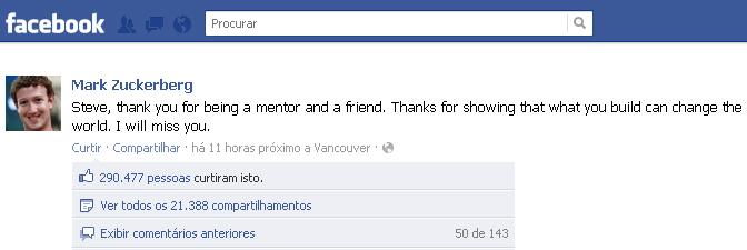 Declaração de Marck Zuckerberg no Facebook sobre a morte de Steve Jobs (Foto: Reprodução/TechTudo)