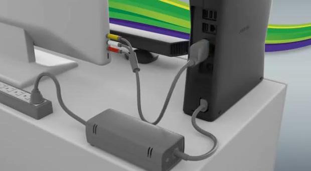 Conexão entre Xbox 360 e televisão (Foto: Reprodução/YouTube-cisarro100)