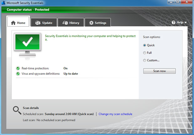 A nova interface do Microsoft Security Essentials
