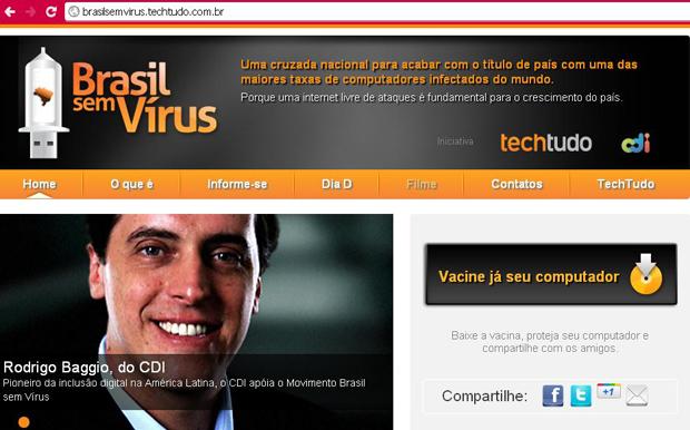 O movimento Brasil sem Vírus: uma cruzada nacional para acabar com as altas taxas de computadores infectados do mundo. (Foto: Reprodução/Brasil sem Vírus)