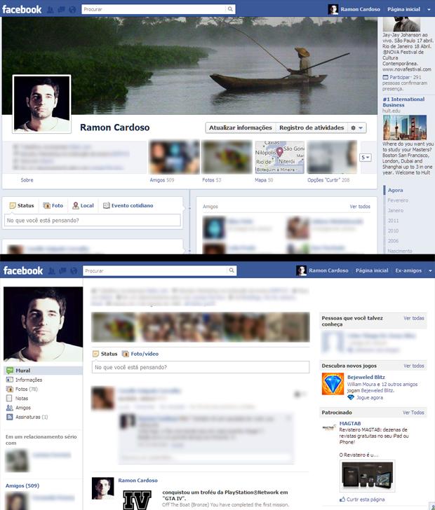 Nova Timeline (acima) e o antigo perfil do Facebook (abaixo), após a instalação da extensão Timeline Remove