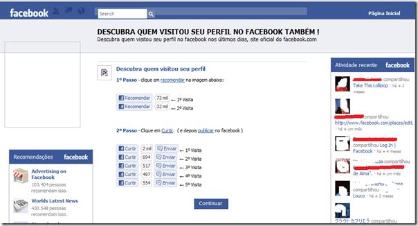 """A página """"Descubra quem te visitou"""" tem um falso aplicativo que promete mostrar as pessoas que acessaram o seu perfil na rede social (Foto: Reprodução)"""
