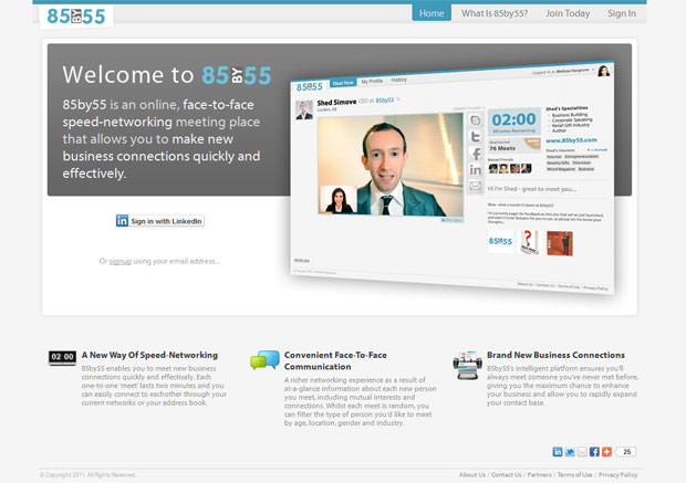 A nova rede social 85by55 tem o objetivo de realizar contatos profissionais (Foto: Divulgação)