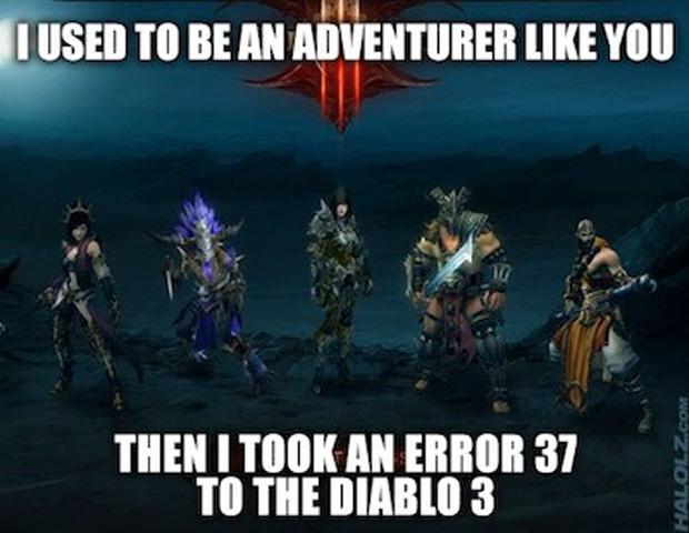 """""""Eu costumava ser um aventureiro como você. Aí eu levei um Error 37 no Diablo 3"""", referência à piada da flechada no joelho de The Elder Scrolls V: Skyrim (Foto: IGN)"""