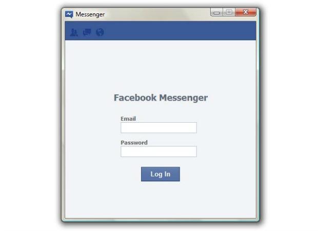 Tela de login do Facebook Messenger (Foto: Reprodução)