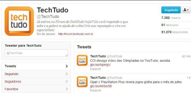 Perfil do TechTudo no Twitter (Foto: Reprodução)