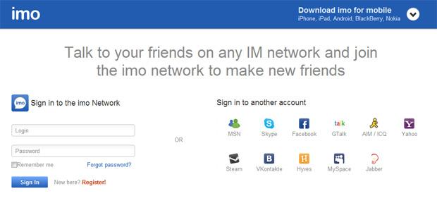 Parecido com o ebuddy, o site imo também agrega diversos mensageiros instantâneos (Foto: Reprodução)