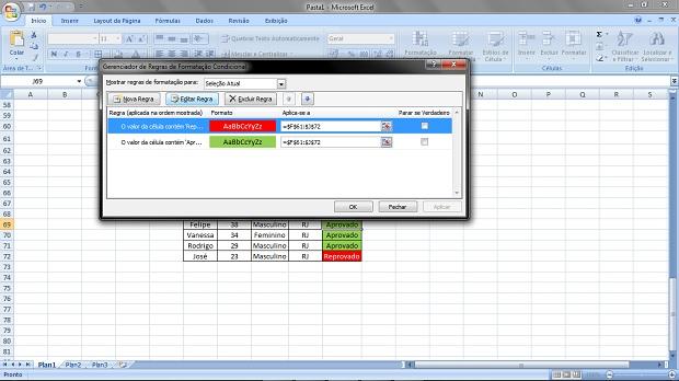 Editando as regras de formatação condicional