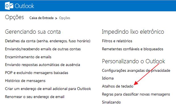 Item com atalhos de teclado no Outlook.com (Foto: Reprodução/Marcela Vaz)