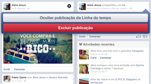 Deletando uma postagem na linha do tempo de seu Facebook (Foto: Reprodução/Aline Jesus) (Foto: Deletando uma postagem na linha do tempo de seu Facebook (Foto: Reprodução/Aline Jesus))