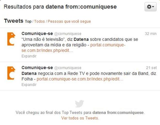 """Tweets com o termo """"Datena"""" na conta """"comuniquese"""" (Foto: Reprodução/ Raquel Freire)"""
