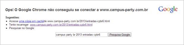 Site da Campus Party ficou inacessível após sofrer um ataque DDoS (Foto: Reprodução/Ricardo Fraga)