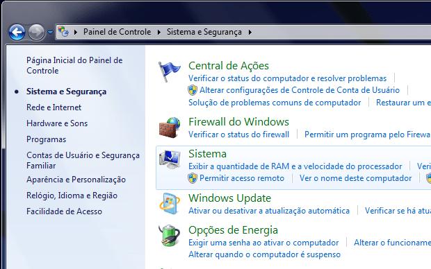 Painel de Controle do Windows (Foto: Reprodução/Helito Bijora)